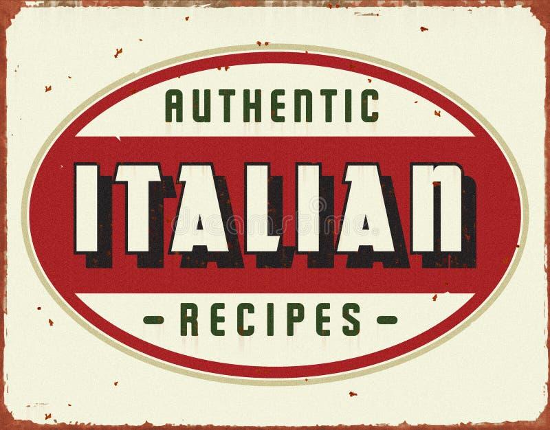 Włoski Kulinarny rocznik cyny znak fotografia stock