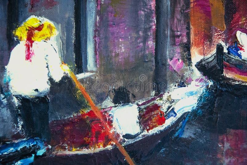 Włoski mężczyzna obraz olejny na kanwie na rzece ilustracja wektor