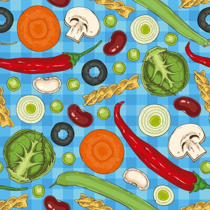 Włoski makaron i warzywa bezszwowy wzoru royalty ilustracja