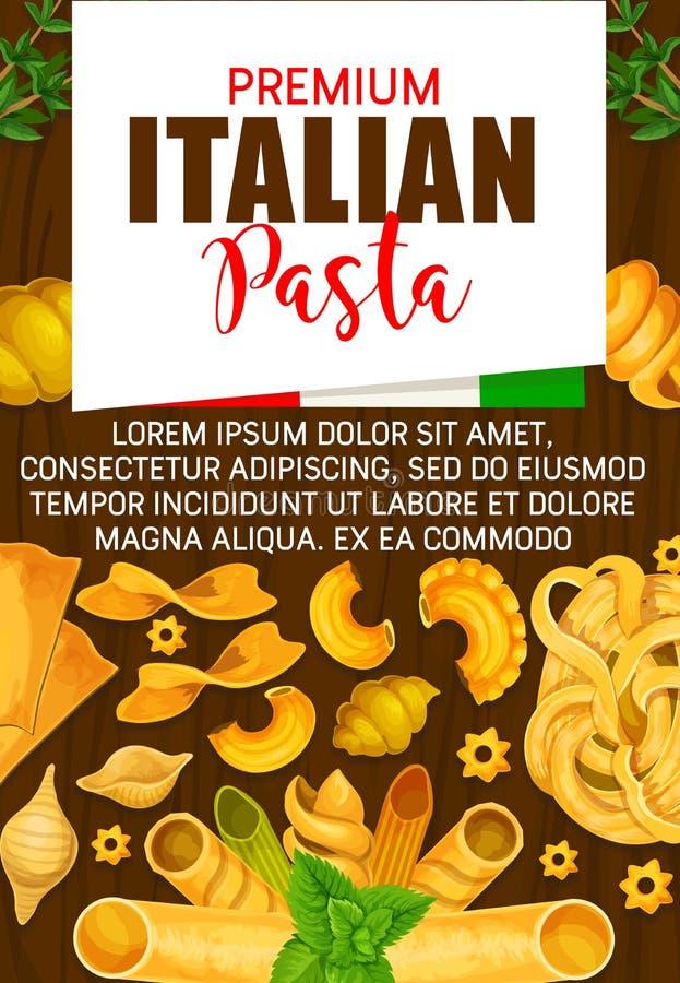 Włoski makaron, premii Włochy kuchnia ilustracja wektor