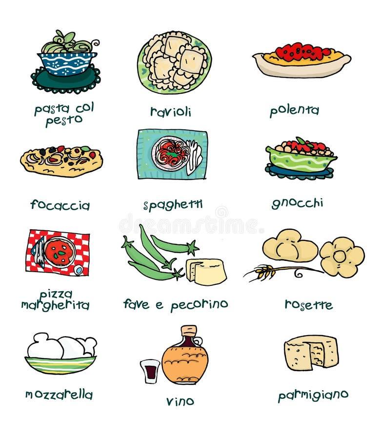 włoski menu ilustracji
