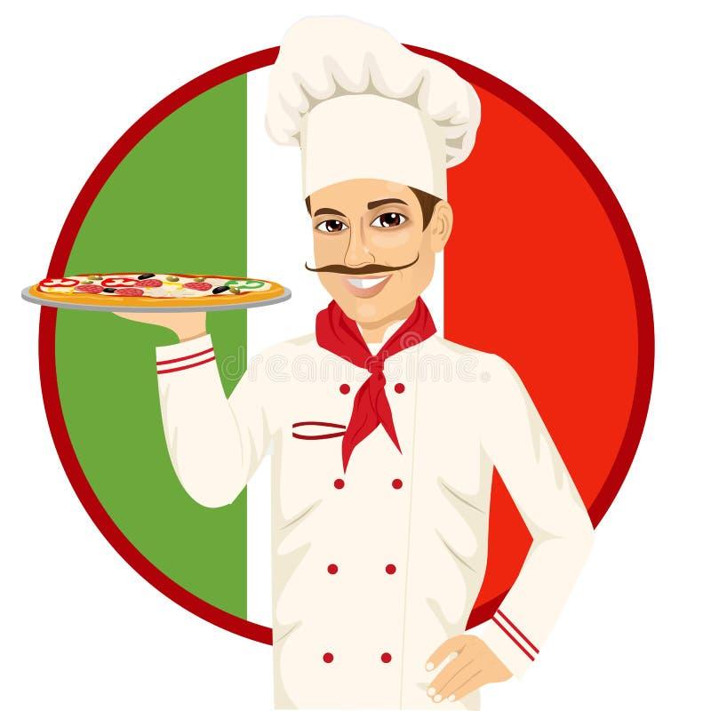 Włoski pizza szef kuchni z śmiesznym wąsy ilustracja wektor