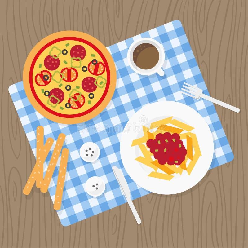 Włoski posiłku set royalty ilustracja