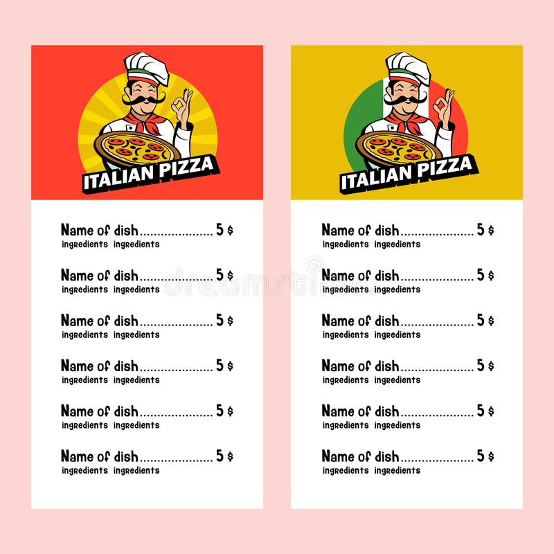 Włoski szef kuchni trzyma wyśmienicie pizzę 8 emblemata eps odizolowywający wektorowy biel ilustracja wektor