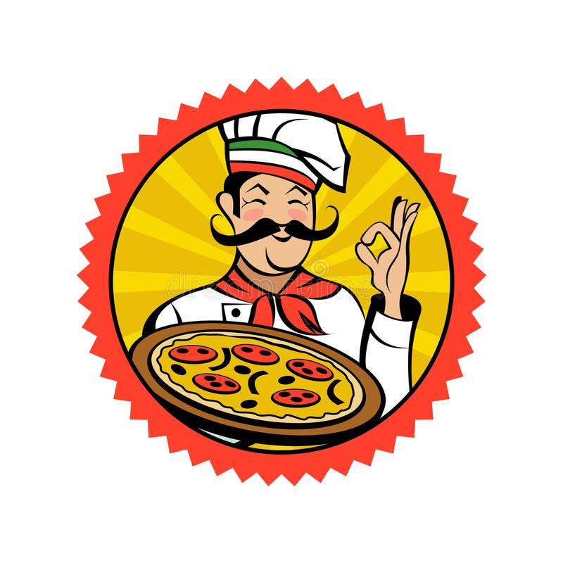 Włoski szef kuchni trzyma wyśmienicie pizzę 8 emblemata eps odizolowywający wektorowy biel royalty ilustracja