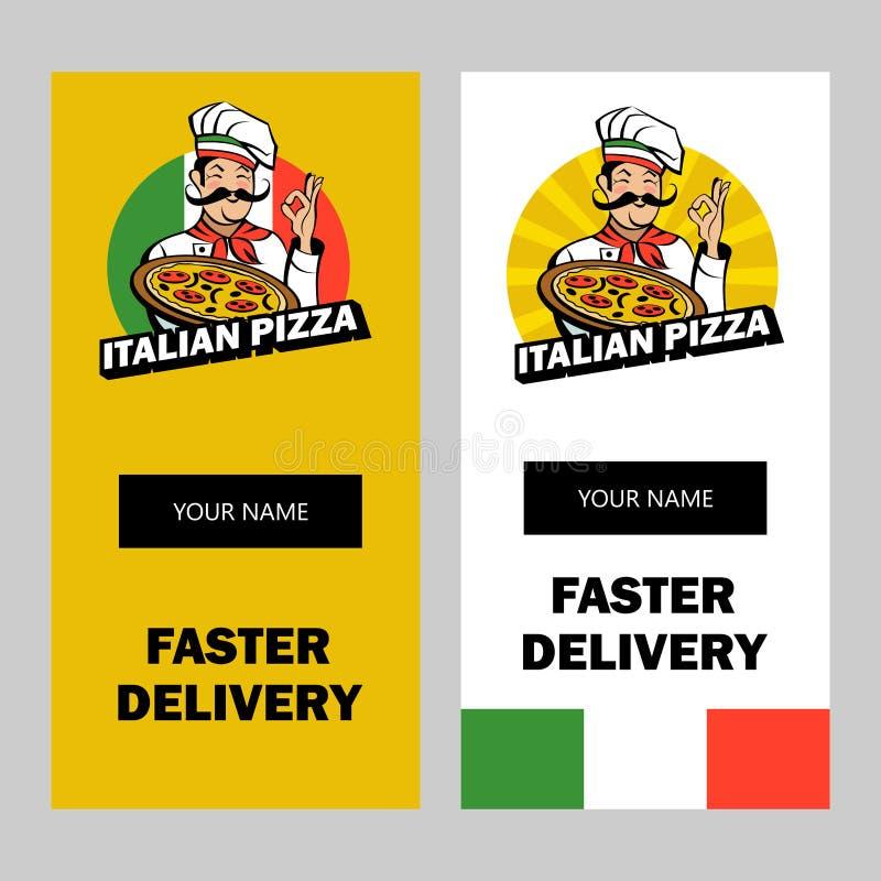 Włoski szef kuchni trzyma wyśmienicie pizzę 8 emblemata eps odizolowywający wektorowy biel ilustracji