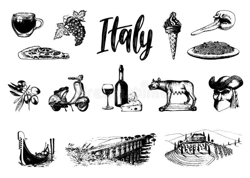 Włoski ustawiający nakreślenia Ręki rysować ilustracje Włochy podróży symbole Wektorowi turystyczni znaki wakacje ilustracja wektor
