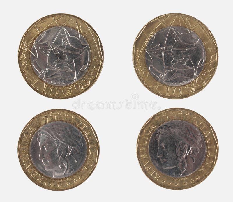 1000 Włoskich liras monet obraz stock
