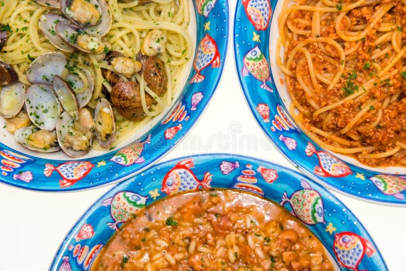 włoskie makaronów tris ryżu obrazy royalty free