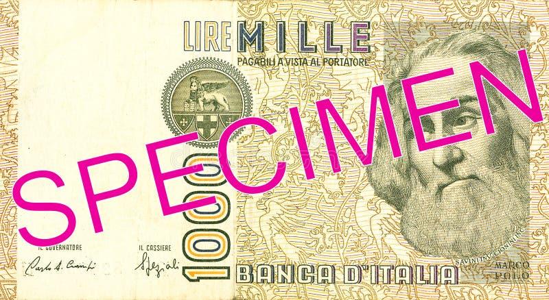 1000 włoskiego lira banknotu awersów zdjęcia royalty free
