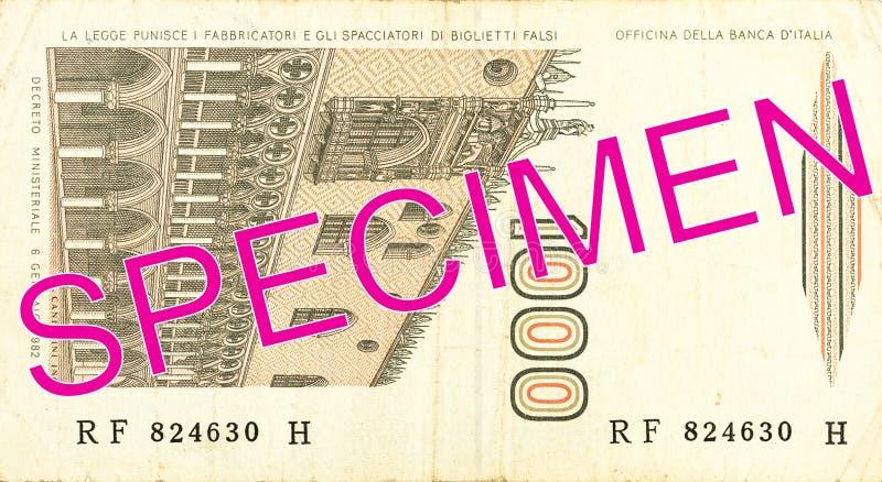 1000 włoskiego lira banknotu odwrotność obraz stock