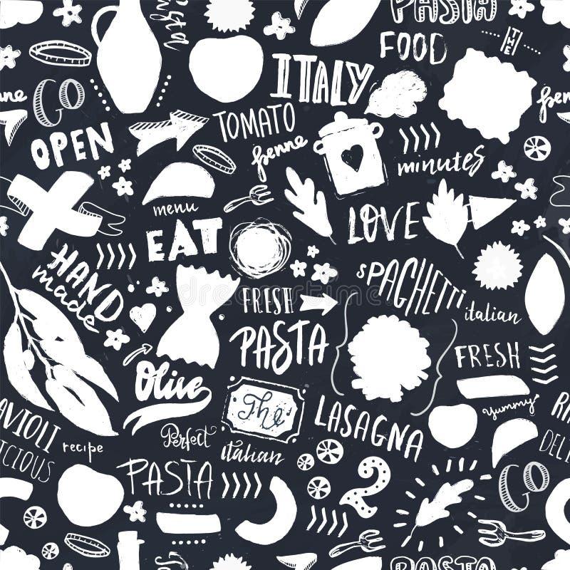 Włoskiego makaronu Bezszwowy wzór z kształtami spaghetti, oliwa z oliwek i ręka rysujący literowanie, Szablon dla nowożytnego men royalty ilustracja