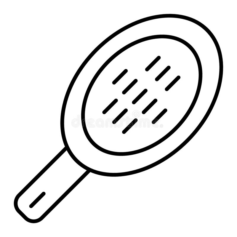 Włosy grępli cienka kreskowa ikona Włosianego muśnięcia ilustracja odizolowywająca na bielu Włosiany akcesoryjny konturu stylu pr ilustracja wektor