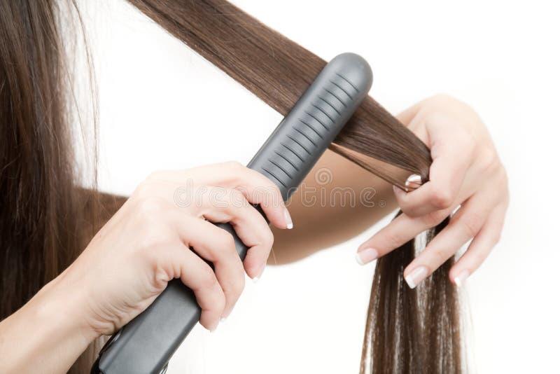 włosy jak prostuje obraz stock