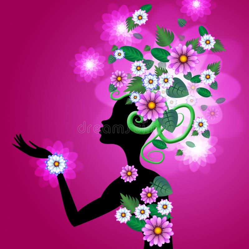 Włosy menchia Wskazuje kwiaty kwiaciarnia I kobieta ilustracja wektor