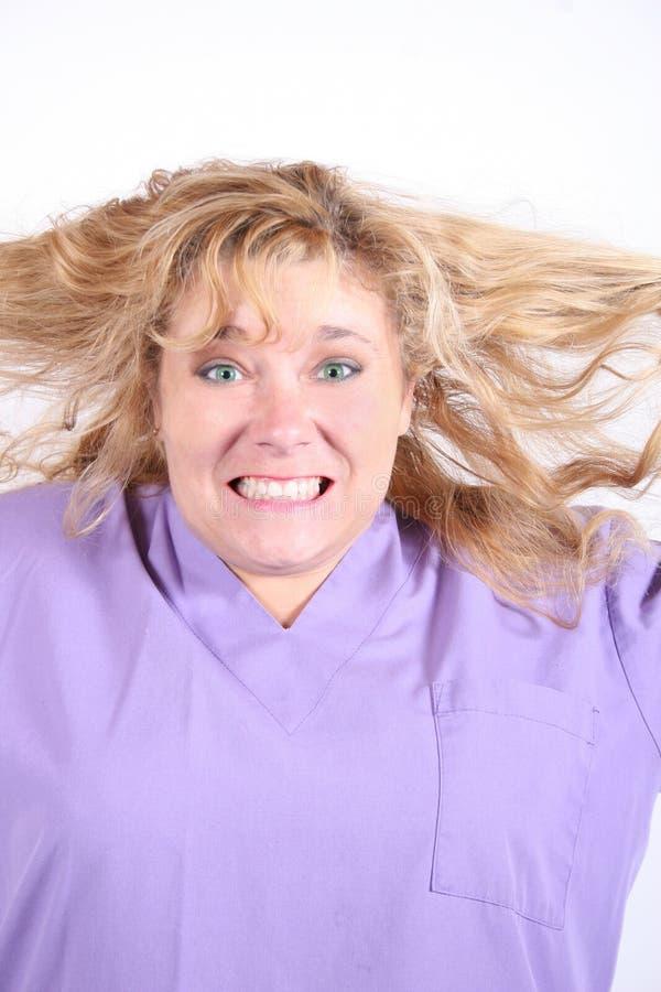 włosy pullings zaakcentowana kobieta zdjęcia stock