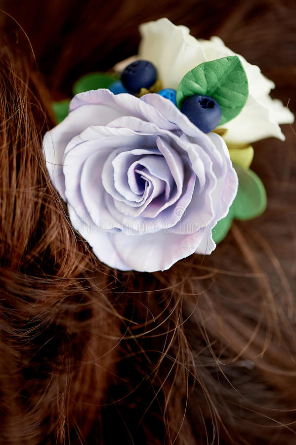 Włosy w babeczce Włosiany akcesoryjny handmade zakończenie Twarz widoczna obraz stock