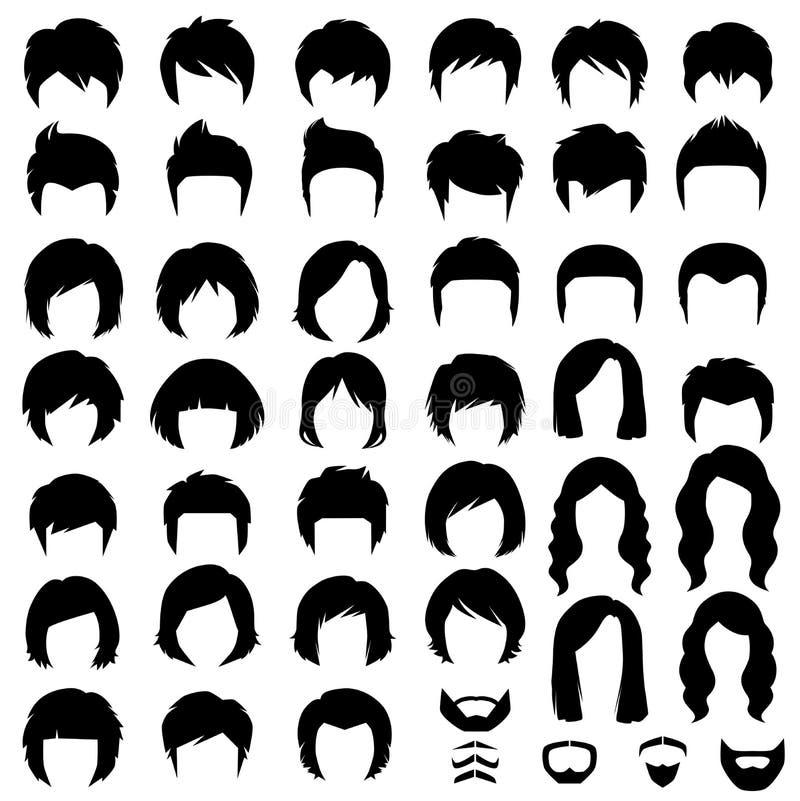 włosy, wektorowa fryzury sylwetka royalty ilustracja