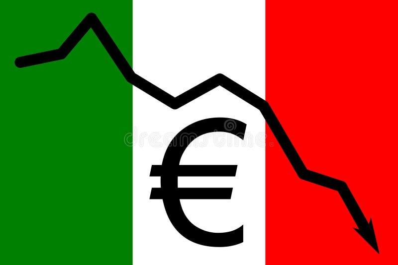 Włoszczyzna chorągwiani depciting problemy z Euro walutą ilustracji