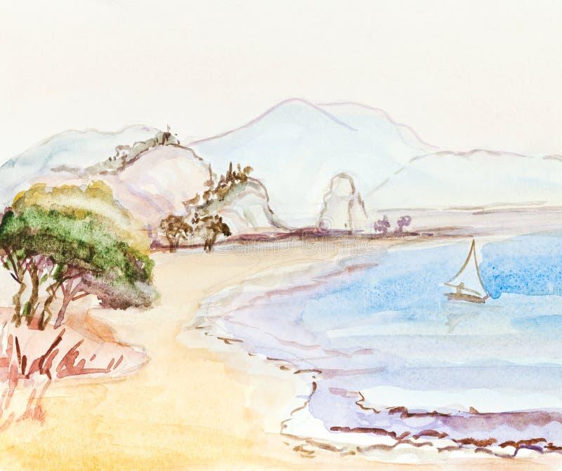 Włoszczyzna krajobraz z żeglowanie łodzią ilustracji