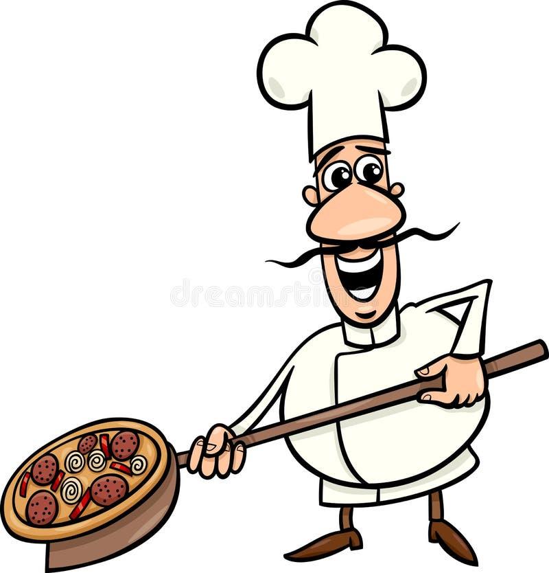 Włoszczyzna kucharz z pizzy kreskówki ilustracją ilustracji