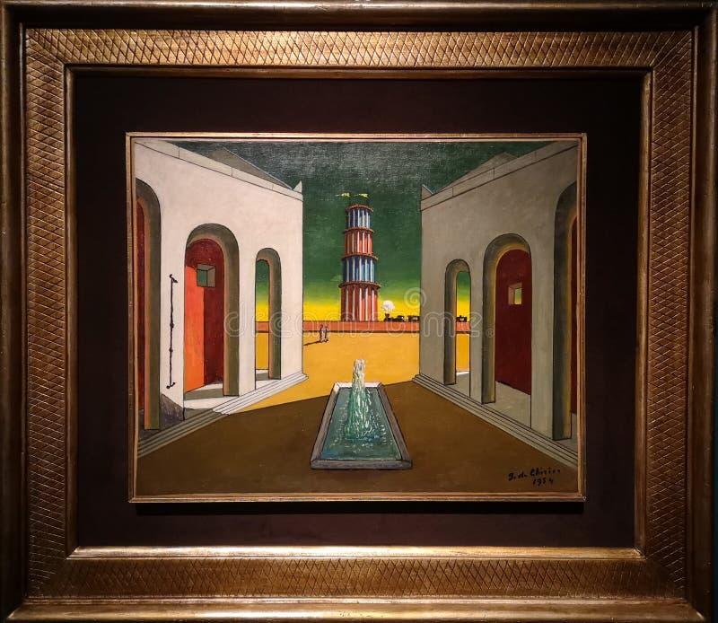 Włoszczyzna kwadrat z fontanną, maluje Giorgio De Chirico zdjęcie royalty free