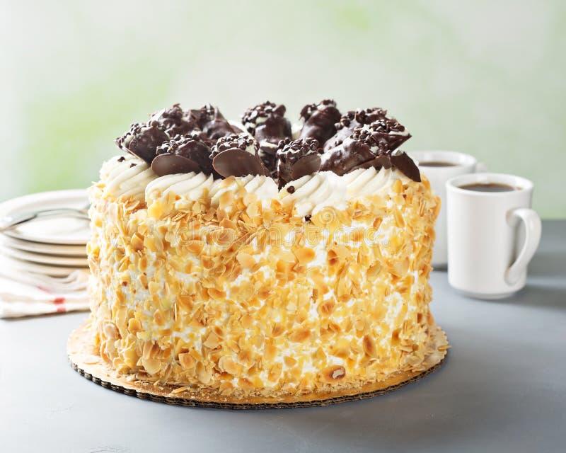 Włoszczyzna tort z czekoladowym cannoli na wierzchołku obrazy stock
