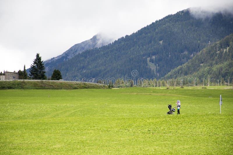 Włoszczyzny dosunięcia macierzysty spacerowicz w trawy polu obok drogi zdjęcia royalty free