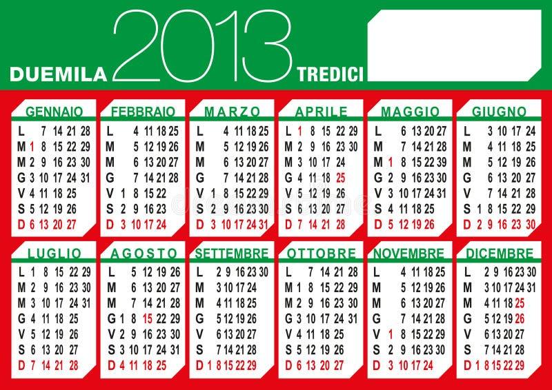Włoszczyzny flaga 2013 kalendarz royalty ilustracja
