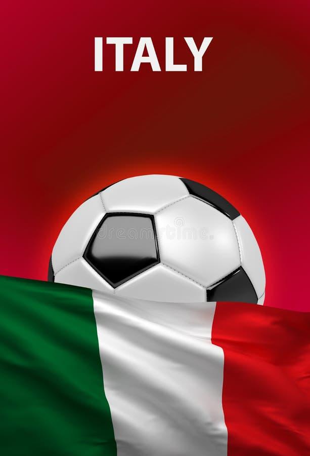 Włoszczyzny flaga, Włochy piłki nożnej piłka, futbol, 3D odpłaca się royalty ilustracja