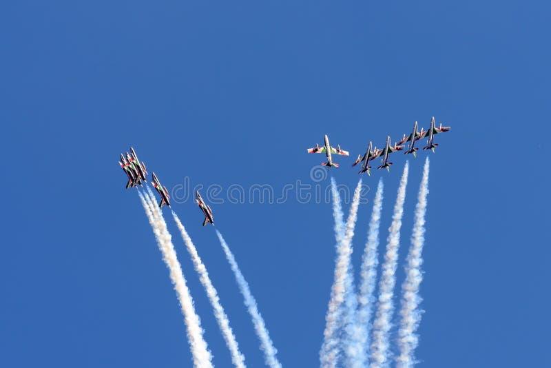 Włoszczyzny Frecce Tricolori pokazu drużyny samolot zdjęcie royalty free