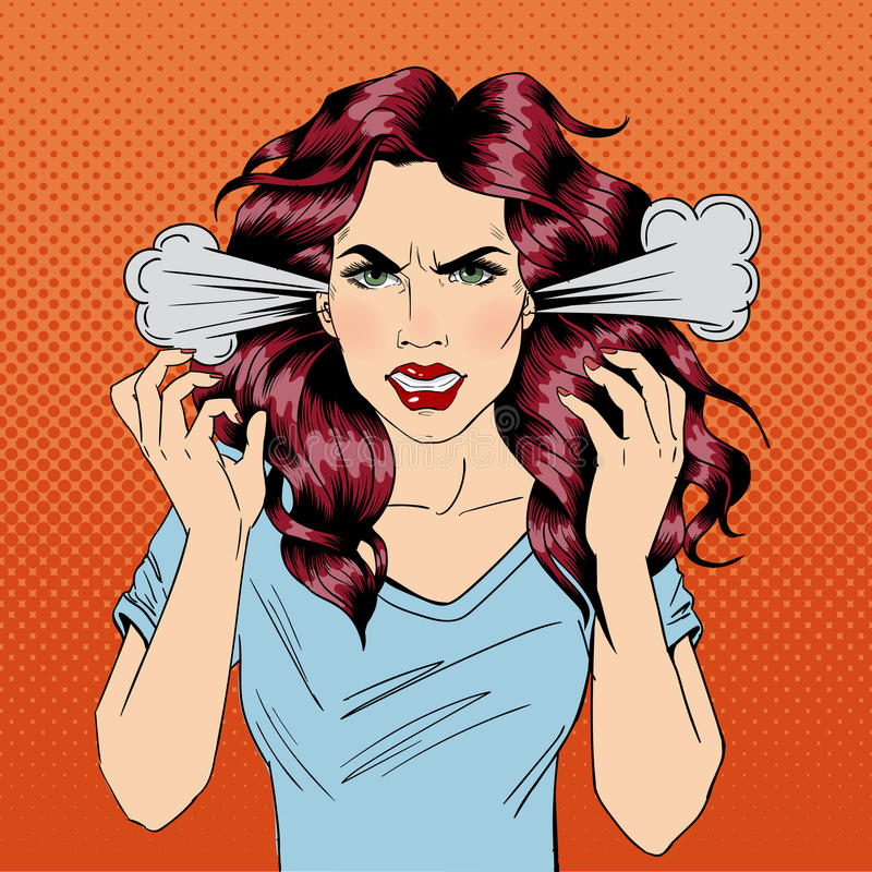 wściekła kobieta Wściekła dziewczyna emocje negatywne Zli dni zły nastrój royalty ilustracja