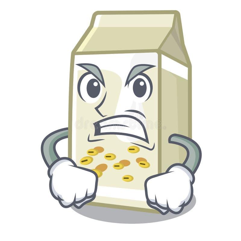 Wściekłe mleko sojowe w kształcie maskotu ilustracji