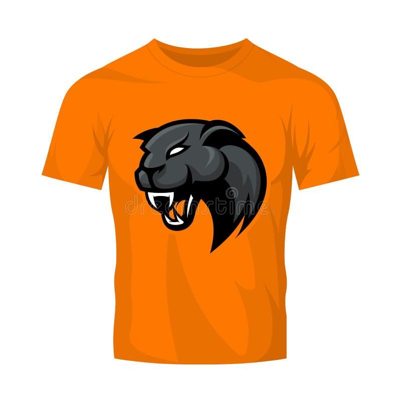 Wściekłego pantera sporta loga wektorowy pojęcie odizolowywający na pomarańczowym koszulki mockup royalty ilustracja