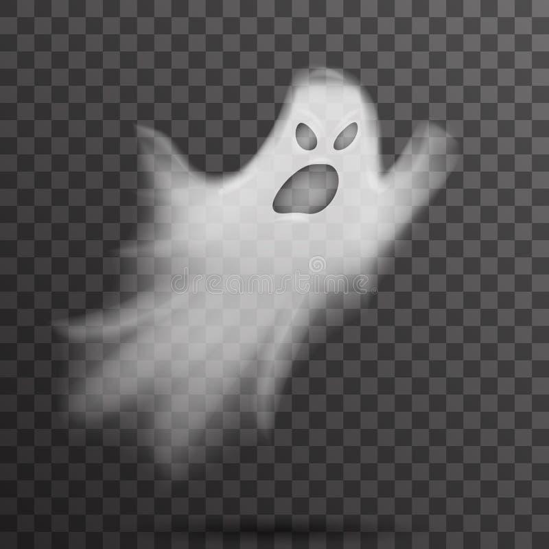 Wściekły, biały, przerażający duch wyizolowany z szablonu, przezroczysty nocny wektor tła royalty ilustracja