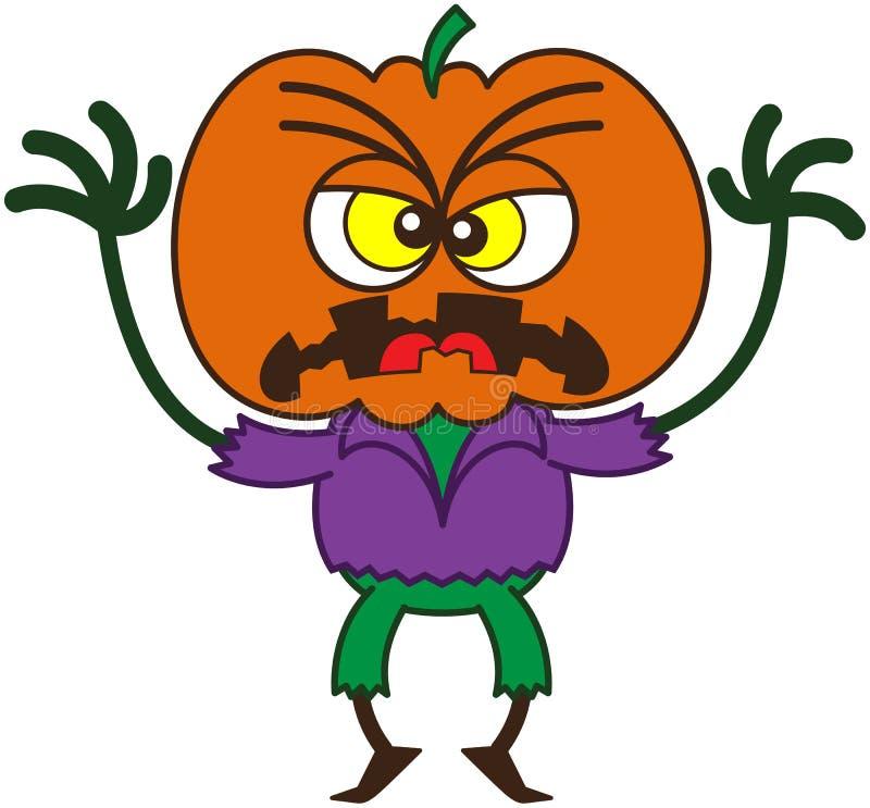 Wściekły Halloweenowy strach na wróble jest straszny ilustracja wektor