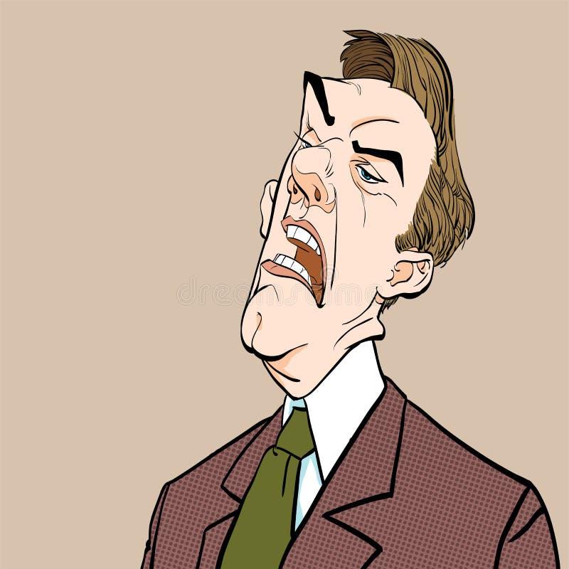 wściekły szef Dokuczający polityk zły człowiek Obcojęzyczna polityka wektoru ilustracja royalty ilustracja