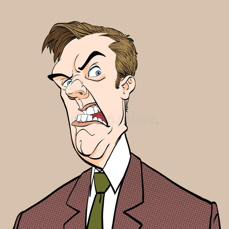 wściekły szef Dokuczający polityk zły człowiek Zła emocja ilustracja wektor