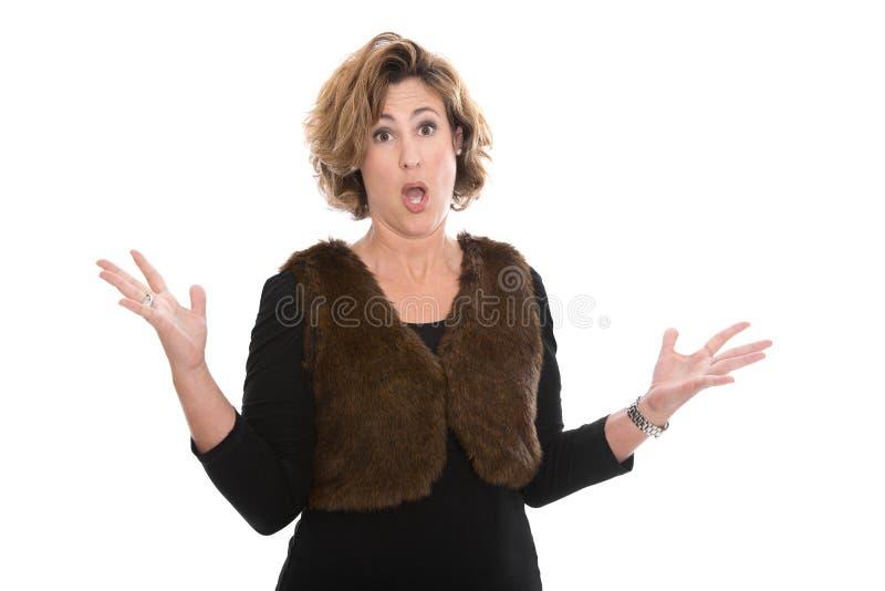 Wściekły szokować i płacz odizolowywaliśmy w średnim wieku biznesowej kobiety ja obrazy stock