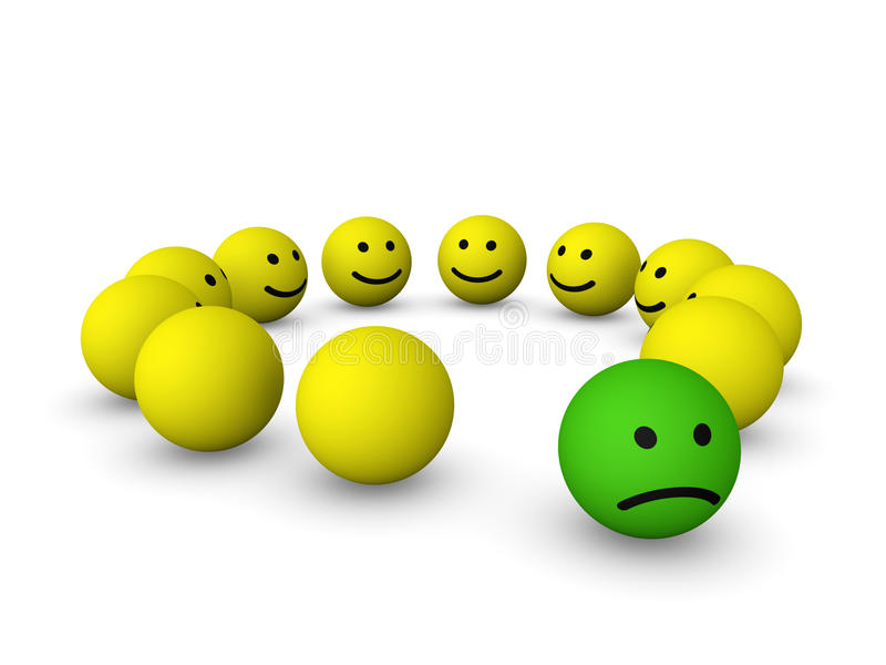 Wśród szczęśliwych smileys smutny smiley ilustracja wektor