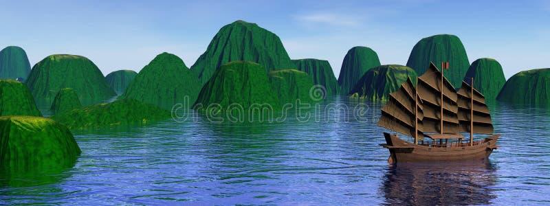 Wśród wysp orientalna dżonka ilustracji