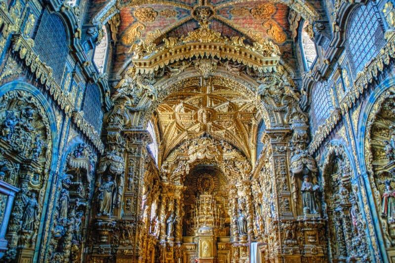 Wśrodku barokowego kościół Santa Clara obrazy royalty free