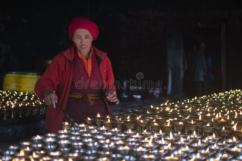Wśrodku Buddyjskiego monasteru himalaje Nepal zdjęcia royalty free