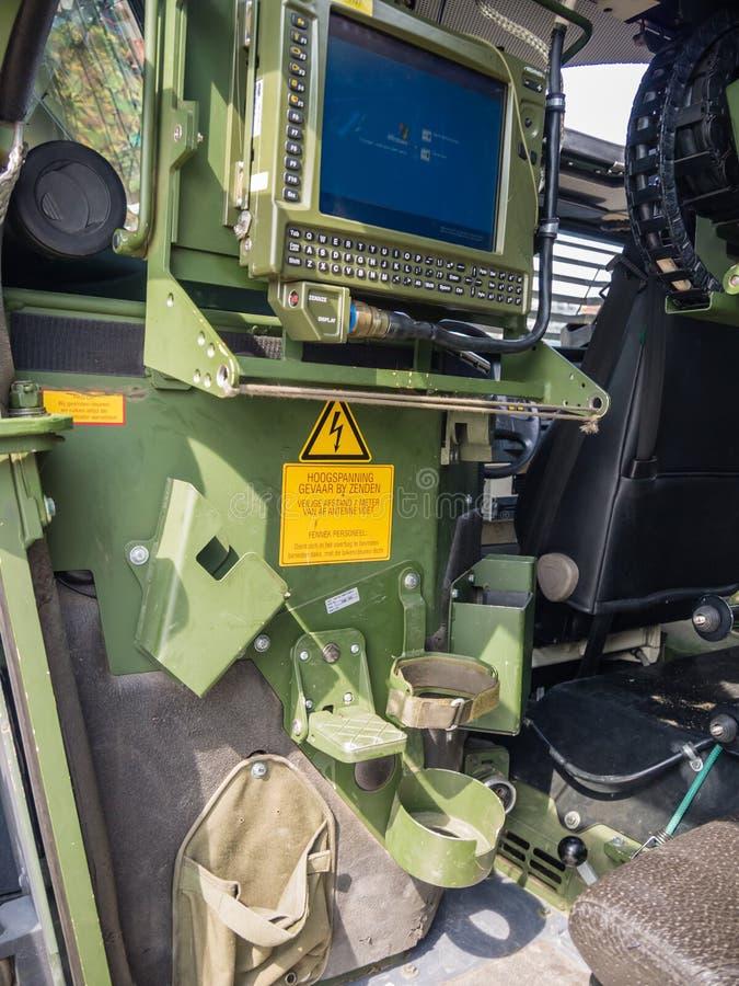 Wśrodku Holenderskiego pojazdu wojskowego zdjęcia royalty free