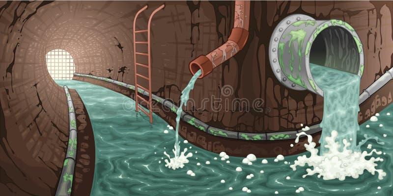 Wśrodku kanału ściekowego. ilustracji