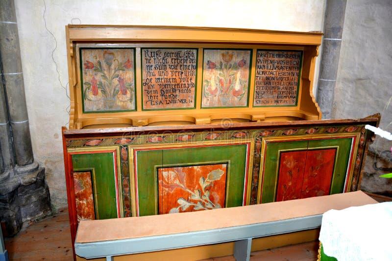 Wśrodku kościół Carta średniowieczny monaster blisko Sibiu, Transilvania zdjęcia royalty free