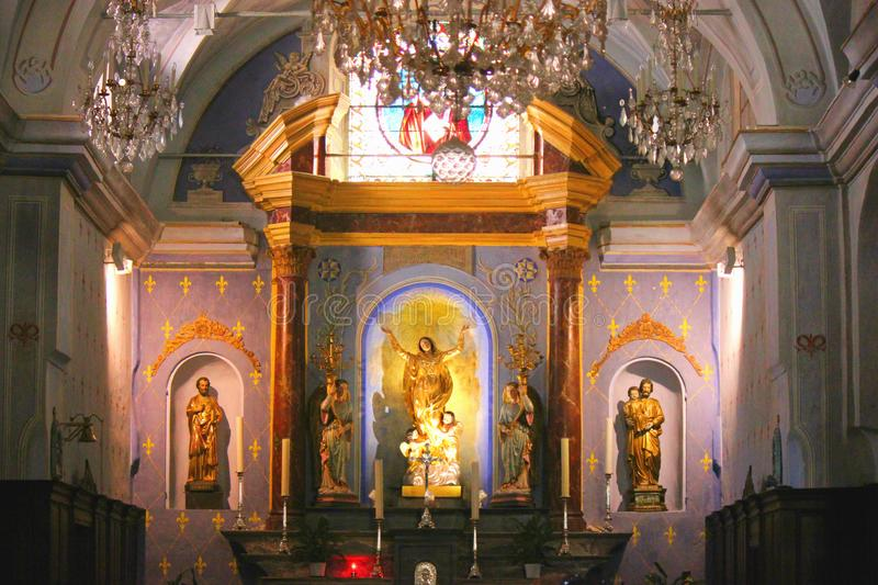 Wśrodku kościół corte w Corsica fotografia royalty free