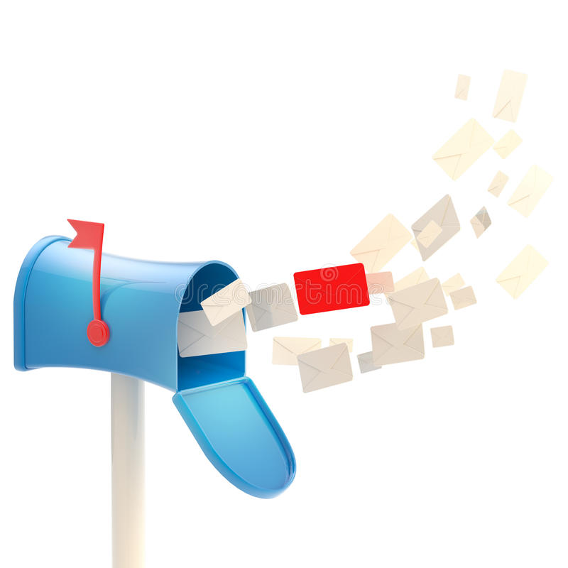 wśrodku list skrzynka pocztowa tabunowy latanie ilustracja wektor