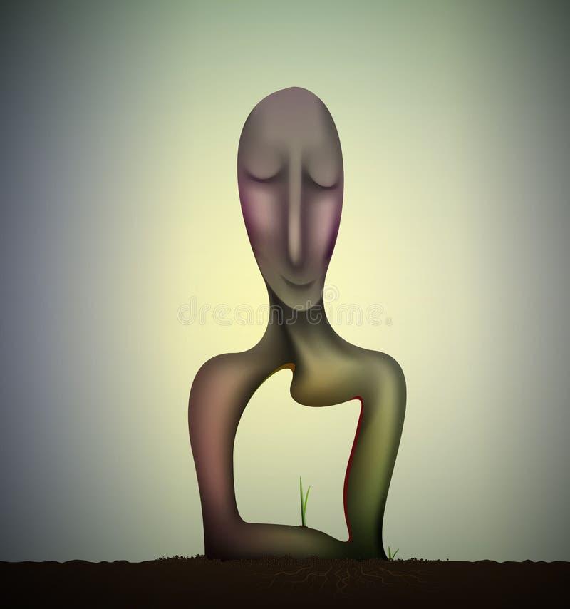 Wśrodku mężczyzna duszy, szczęśliwej i zadowolonej duszy, natur uczucia, uśmiechu nadrealizmu rzeźba, ziemia sen, ilustracja wektor