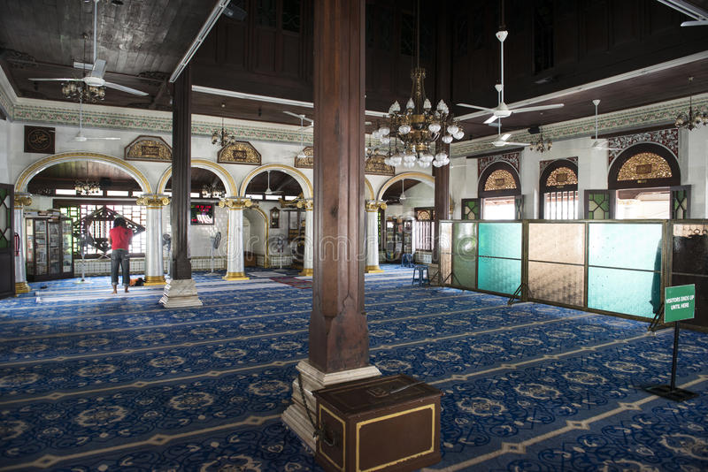 Wśrodku meczetu na Melaka miasteczku, Malezja fotografia royalty free
